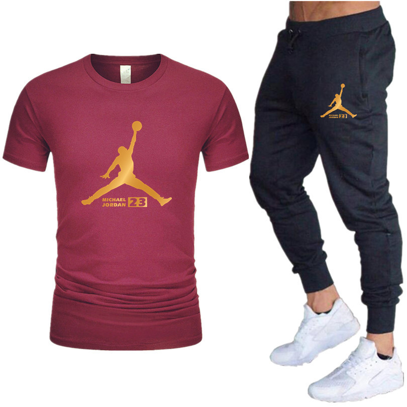 Hot New Men's Sets T Shirts+Pants Two Pieces Sets Casual Tracksuit 2019 Tide Brand Tshirt Gyms Fitness Sportswears Suit
