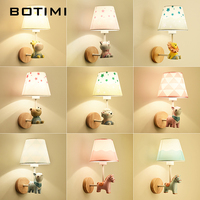 BOTIMI LED Cartoon Wall Lamp Children Wall Sconce Girls Wall Lamps Boys Bedside Lights Wall Mount For Baby Room Kids Luminaire