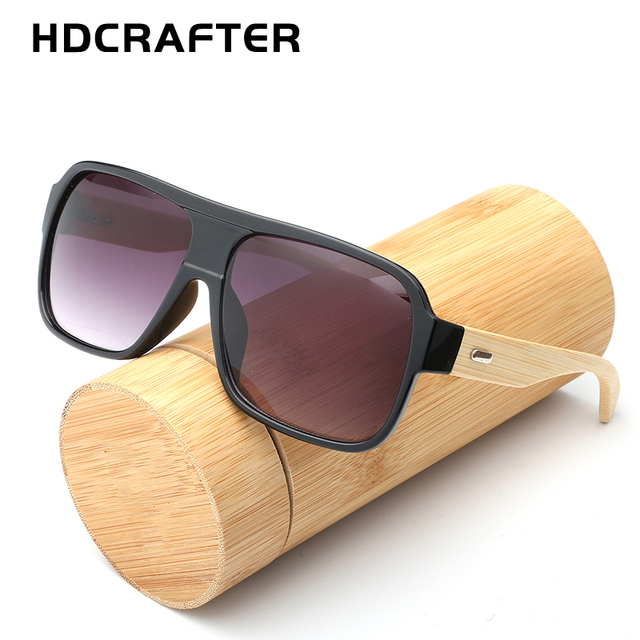 b682c86878 HDCRAFTER Oversized Bamboo Sunglasses Men Flat Top Wooden Sun Glasses for  Women Retro Brand Design Wood