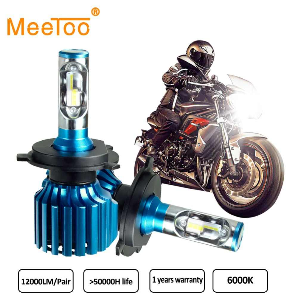 MeeToo H4 LED Motorcycle Headlight Bulbs 12000LM 6000K 72W HS1 Led Moto Motorbike Headlamp Lighting Electric Car Lights 2 Pieces