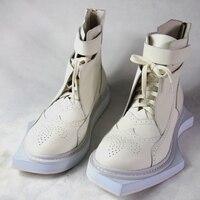 Мода ручной Новый Милан из натуральной кожи Для мужчин коренастый ботинки личности геометрические связи нахалы вторглись обувь