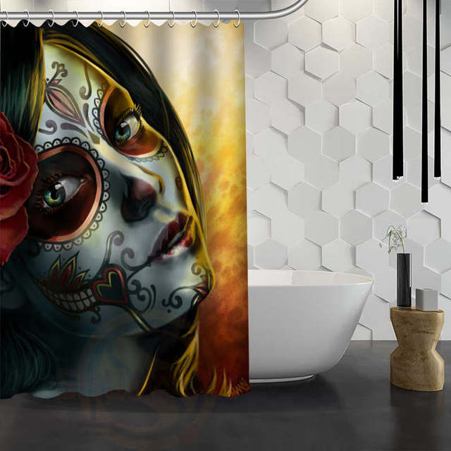 Vixm Hot Sale Custom Day Of Dead Shower Curtain Waterproof Fabric Bath For Bathroom