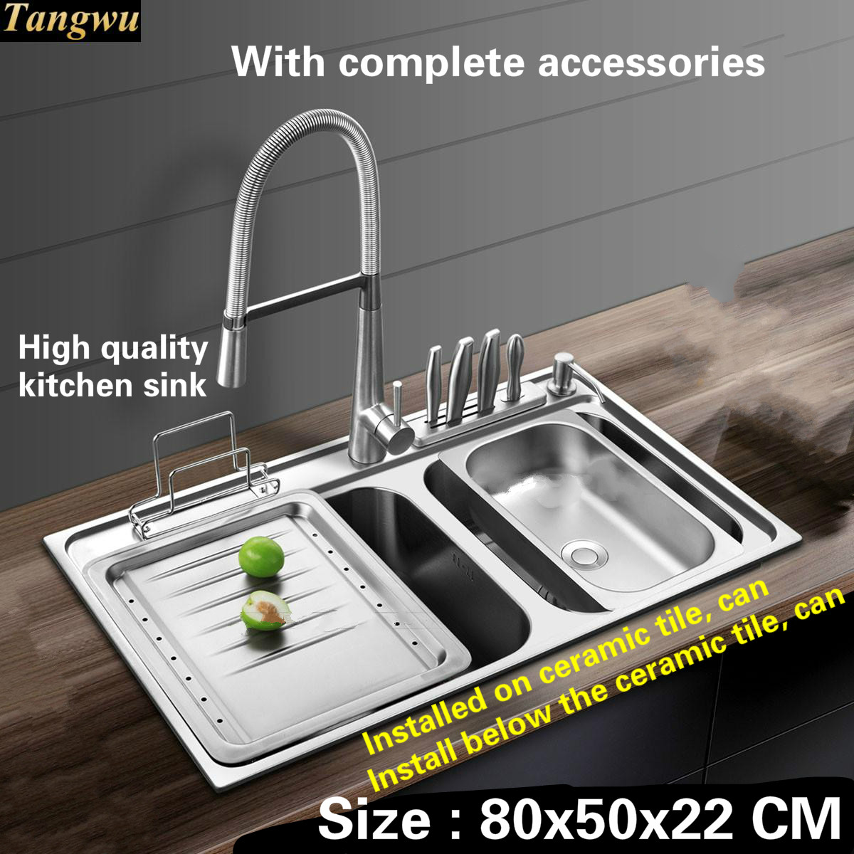 Tangwu Luxurious kitchen sink 1 mm thick food grade 304 stainless steel durable large double slot whole drawing  80x50x22 CM free shipping food grade 304 stainless steel hot sell kitchen sink double trough 0 8 mm thick ordinary 78x43 cm