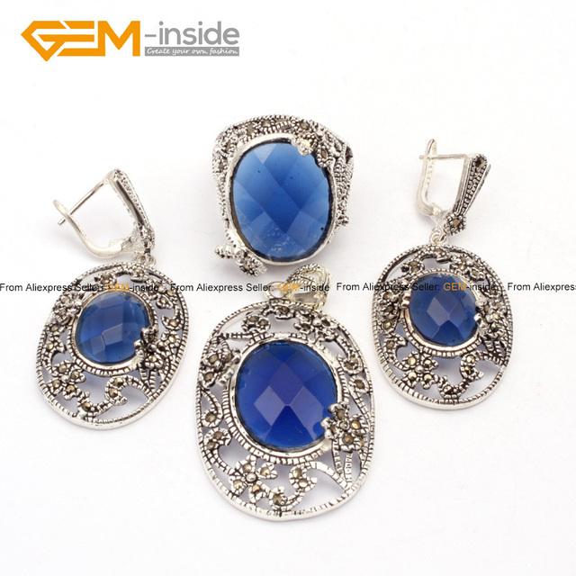 Antiqued ovalada Pendientes Pendientes de La Joyería de Moda Anillo de Plata Tibeten GEMA Azul Perlas de La Joyería del Envío Libre de interior
