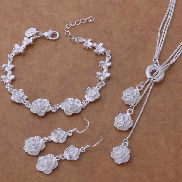 AS269 Hot  sterling   Jewelry Sets Bracelet 021 + Necklace 497 + Earring 321 /akrajbya areajila silver color