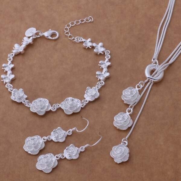 AS269 Hot 925 sterling silver Jewelry Sets Bracelet 021 + Necklace 497 + Earring