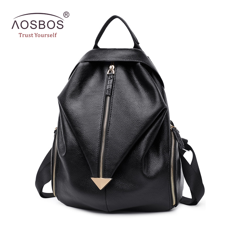 ФОТО New Arrival Women Genuine Leather Backpacks Fashion Lychee Pattern Black Shoulder Bags Unique Half Rhombic Zipper Solid Backpack