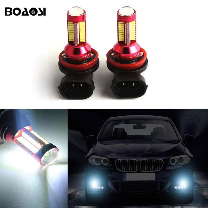 BOAOSI For Ford Mazda Honda Mitsubishi Lancer Asx H11 H8 LED Canbus Bulbs Fog Light Replacement LED Bulbs 2pcs deechooll 2pcs wedge light for mazda 2 3 5 6 mx5 rx8 cx7 626 gf gg ge gw canbus t10 57smd 6w led clearance xenon lighting bulbs