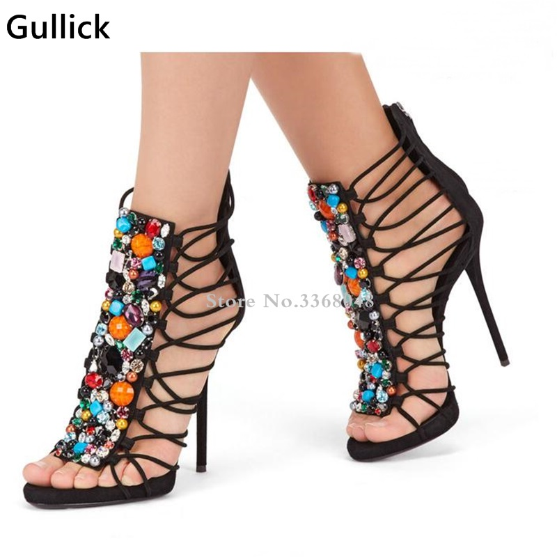 Hot Selling Handmade Suede Sandals With Colorful Stones High Heel Cut-out Strappy Women Dress Shoes Thin Heels Lady Boot Sandal