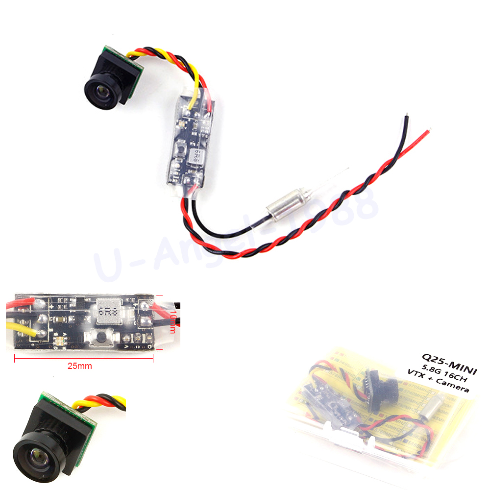 1set KINGKONG Q25 5.8G 25mW 16CH micro AV Transmitter With 600TVL FPV Camera for RC Indoor Quadcopter FPV Camera Drone