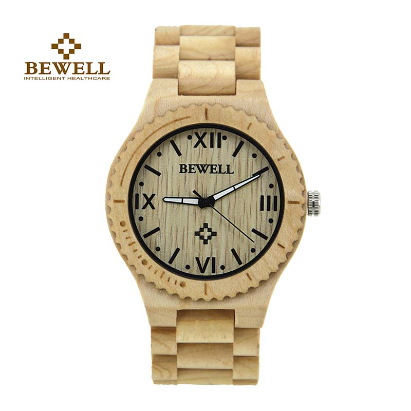 BEWELL Wooden Watch Dress-Style Quartz Men's with Roman Numeral-Scale And Luminous-Pointer