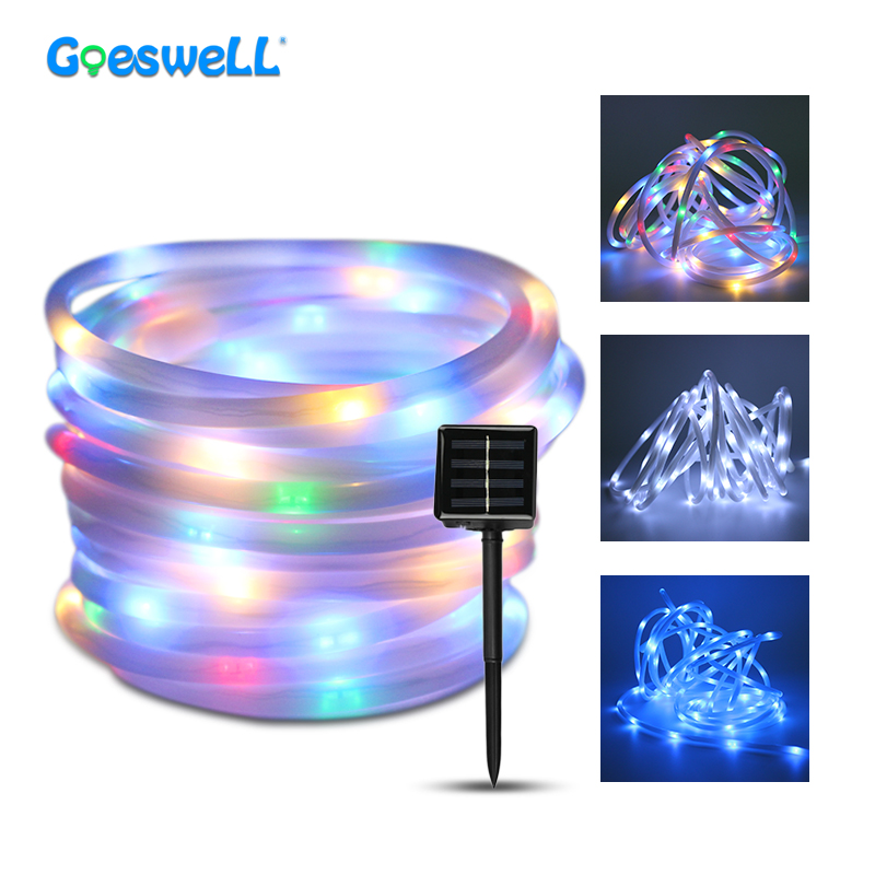10M 200leds Solar Powered LED String Lights RGB Waterproof White Warm White Blue Indoor Outdoor Holiday Rope Tube Lighting Decor