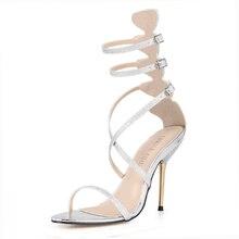 Brand New Gladiator High Heels Women Sandals Sexy Ankle-Strap Women Shoes Glitter Wedding Party Shoes Rome Women Pumps 3845C-6c цены онлайн