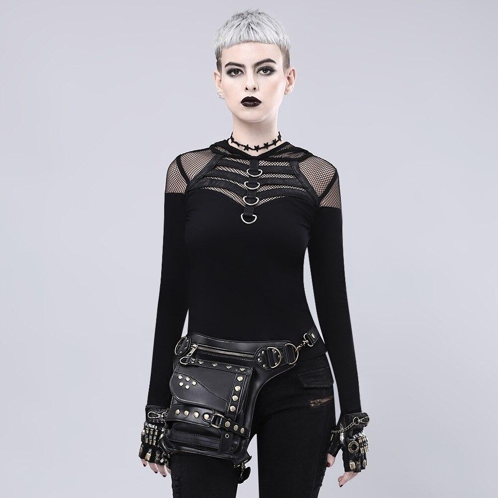 Corstory Retro Vintage Punk Rivet Black PU Leather Steampunk Bags Gothic Messenger Handbag Shoulder Bag Rock Waist Pack недорго, оригинальная цена