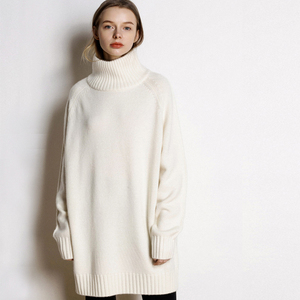 Image 4 - Autumn and winter new high neck cashmere sweater womens long loose sweater knit bottom skirt