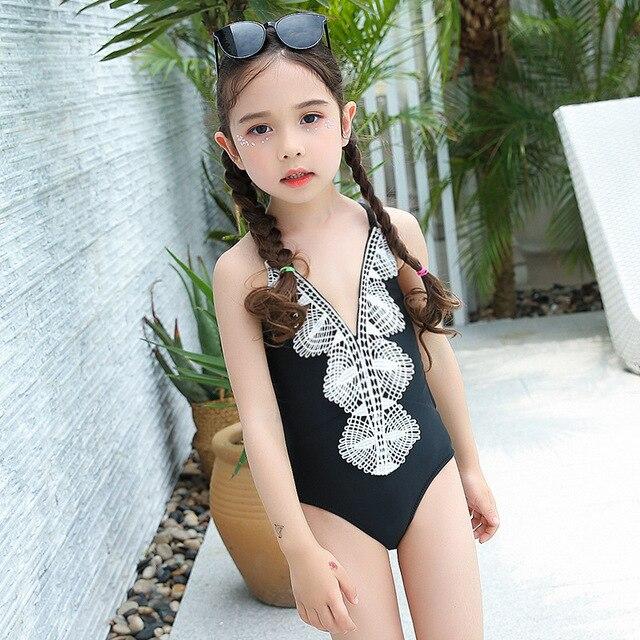77c65e5e9 Natación ropa para niños niña una pieza Swinsuit encaje poliéster natación  trajes de baño niñas traje