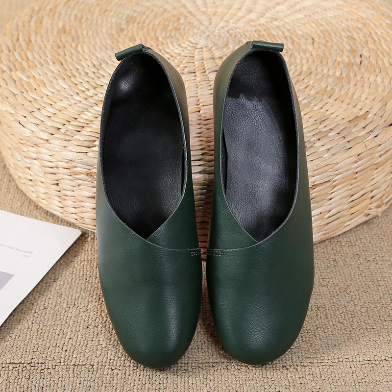 2019 New Women Loafers Handmade PU Leather Flats Casual  Shoes Slip On Women's Moccasins Boat Slipons Mocassin Femme 1