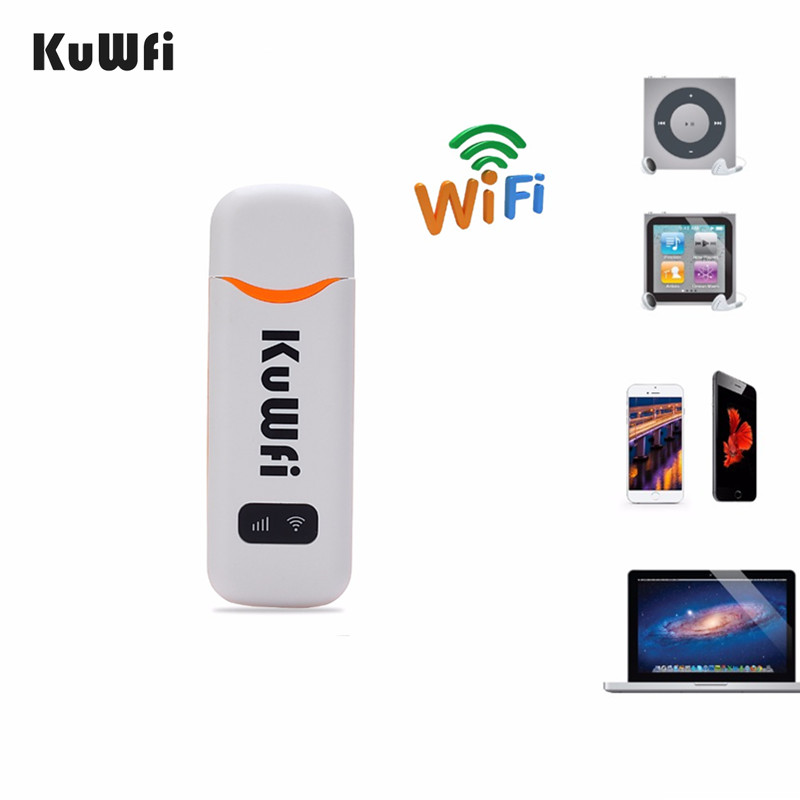 KuWfi 4G Modem Unlocked 4G LTE USB Dongle 100Mbps FDD/TDD/WCDMA Wireless Router USB 2.0 Car Wifi Routers Built-in 2dbi Antenna