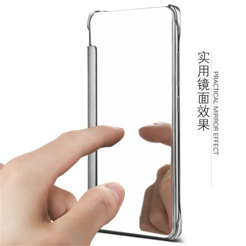 sports shoes 72cd2 3d7f3 US $7.35 8% OFF|BYHeYang Case For Samsung Galaxy A7 2017 Clear View Mirror  Flip Cover For Galaxy A7 2017 A720 A720F Mirror Leather Case-in Wallet ...
