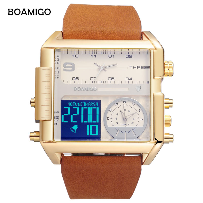 BOAMIGO brand men 3 time zone watch man sports digital watches brown leather quartz watch waterproof big clock relogio masculino