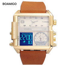 Спорт BOAMIGO бренд для мужчин 3 времени часы для плавания человек спортивные цифровые часы коричневый кожаный кварцевые часы водостойкие большие часы relogio masculino