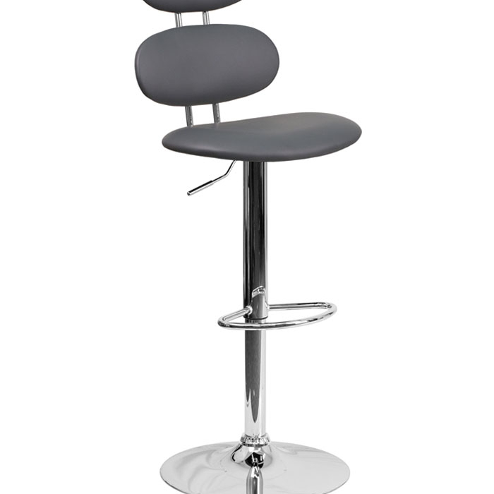 Flash Furniture Contemporary Gray Vinyl Adjustable Height Barstool with Footrest Chrome  ...
