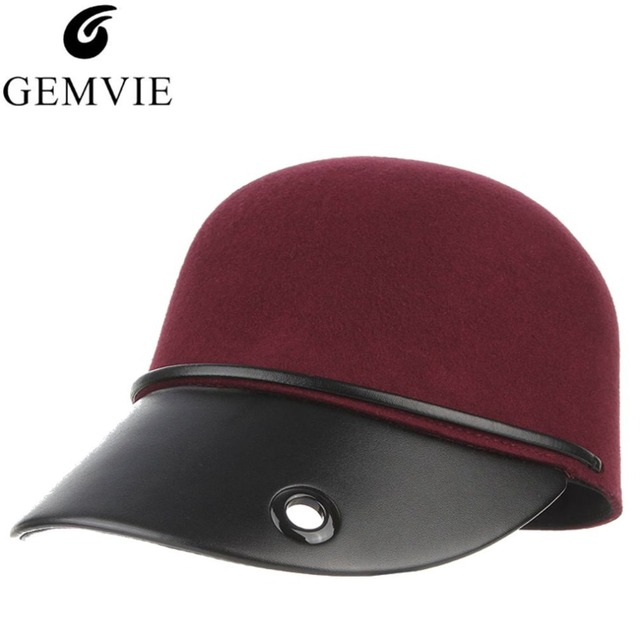 ba2d3116d59ae Vintage Winter Hats For Men Women Wool and Leather Patchwork Polo Hat  Casual Snapback Baseball Caps Horseman Hat