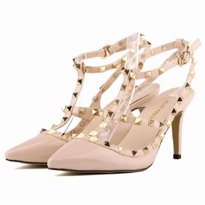 ФОТО LOSLANDIFEN  plus size 35- 42 punk studded t strap strappy ankle strap sandals med heels wedding bridal shoes candy color white
