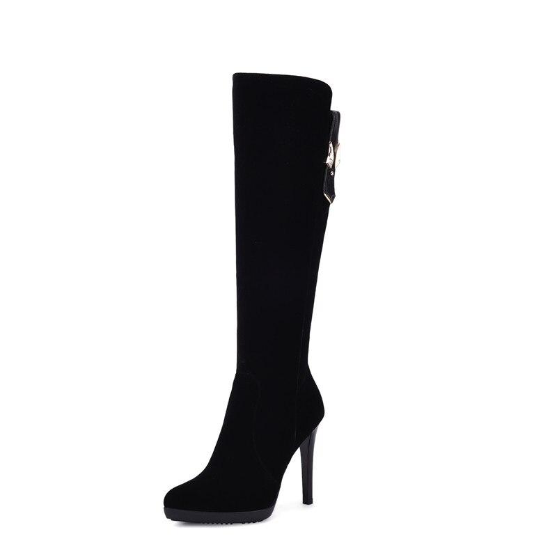 Genou Femme Zip Talons Hauts De Troupeau Chaussures Vente Femmes Bottes Plate Mode Grande Morazora 40 Taille forme 34 Noir Haute Chaude 4qPPgan