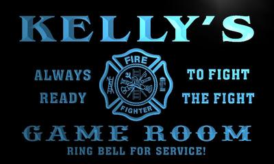 x0247-tm Kellys Firefighters Game Room Custom Personalized Name Neon Sign Wholesale Dropshipping On/Off Switch 7 Colors DHL