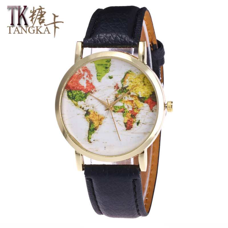 2017 fashion Women Quartz Watch Mapa Leather Strap World Map wrist watches Reloj Mujer Relogio Feminino students clock