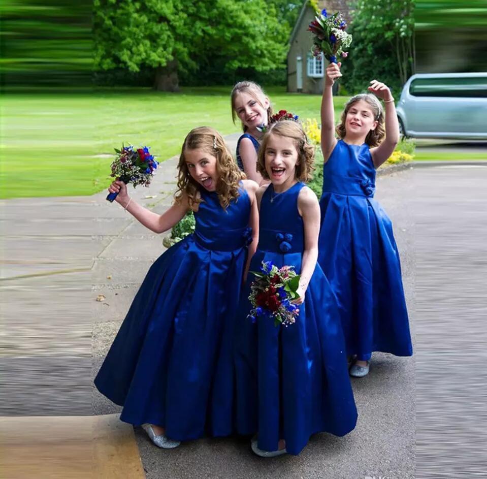 Vestido Longo Royal Blue Flower Girl Dresses 2016 Cheap Handmake Flower Cute Taffeta Little Girls Pageant Dress for Wedding