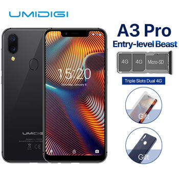 "UMIDIGI A3 Pro 5.7""incell HD+display 3GB+32GB Smartphone MTK6739 Quad core Android 8.1 12MP+5MP Face Unlock Dual 4G Mobile phone"