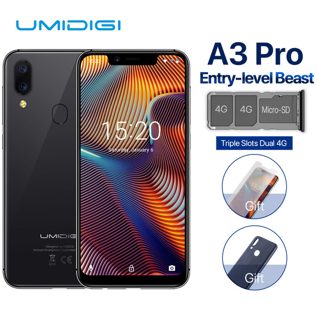 """UMIDIGI A3 Pro 5.7""""incell HD+display 3GB+32GB Smartphone MTK6739 Quad core Android 8.1 12MP+5MP Face Unlock Dual 4G Mobile phone"""