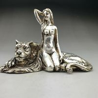 Exquisite OLD Tibetan Silver Copper Hand carved beauty woman and leopards Statue