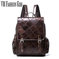 VM FASHION KISS Cowhide Vintage Backpack Men Genuine Leather Plaid Female Backpack Laptop Travel Backpacks Mochila Feminina