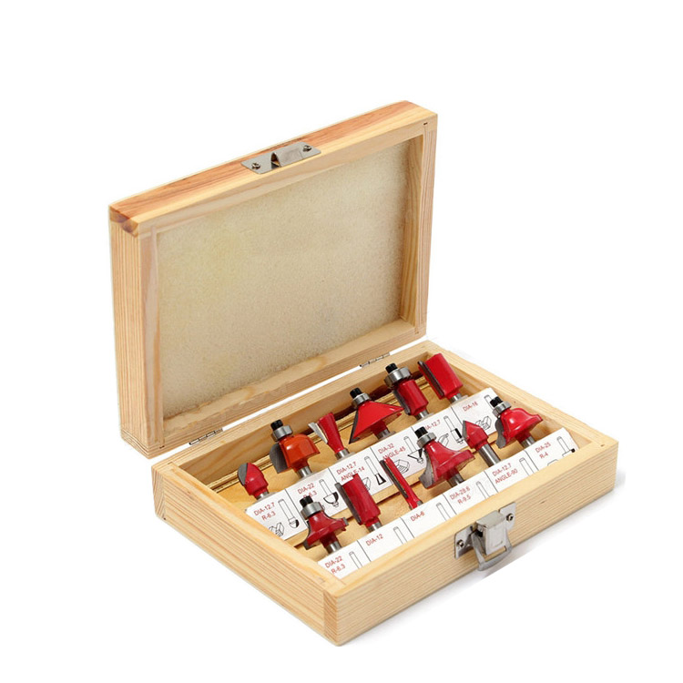 Free shipping Pro-Grade 12 Piece Tungsten Carbide 1/4 inch Router Bits Set free shipping pro grade 50pcs tungsten carbide 1 2inch router bits set with wooden case