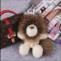 Natural fur mink fur lion bag pendant cute mini version raccoon fox fur ball keychain