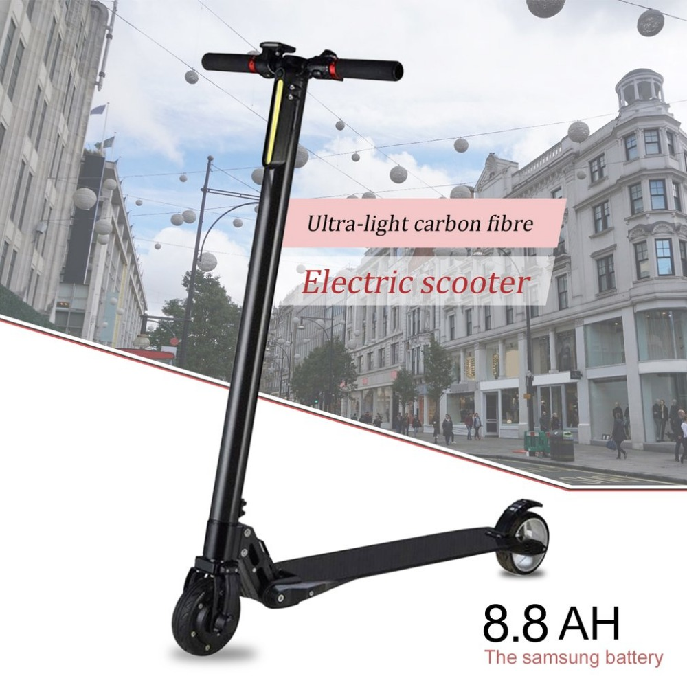 Ultra Light Carbon Fiber Portable Foldable Electric Scooter With Two Wheels Fast Speed Skateboard With LCD Display drop shipping electric kick scooter foldable aluminium alloy electric scooter for adult lcd display 2 wheels led light 120kg load hot sale