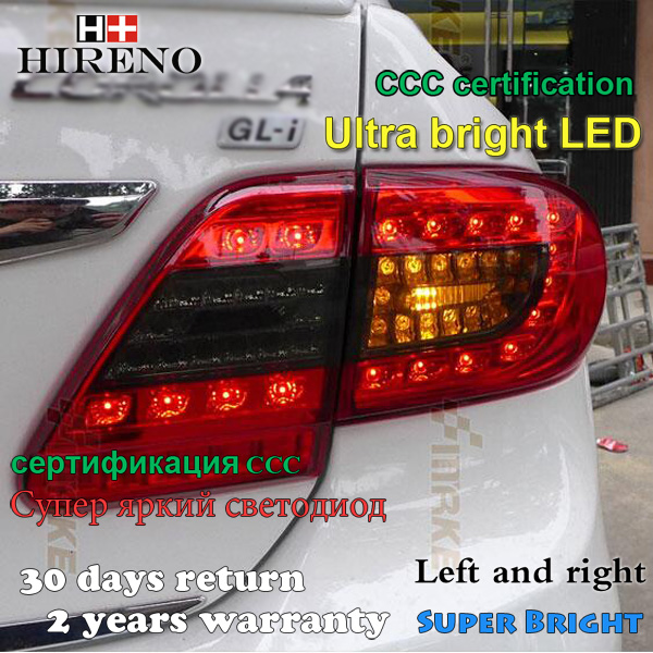 Hireno Tail Lamp for Toyota Corolla 2010 2011 2012 2013 Taillight Rear Lamp Parking Brake Turn Signal Lights led hireno tail lamp for toyota land cruiser lc70 fj77 78 79 rj77 1991 1996 taillight rear lamp parking brake turn signal
