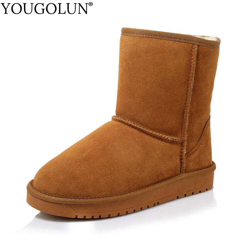 YOUGOLUN Genuine Suede Snow Boots for Women Winter Fashion Lady Warm Black Maroon Khaki Flat Shoes Woman Solid Ankle Boots #B189 xiangxue warm and fuzzy black suede flat boots for winter 2018 chelsea boots for women