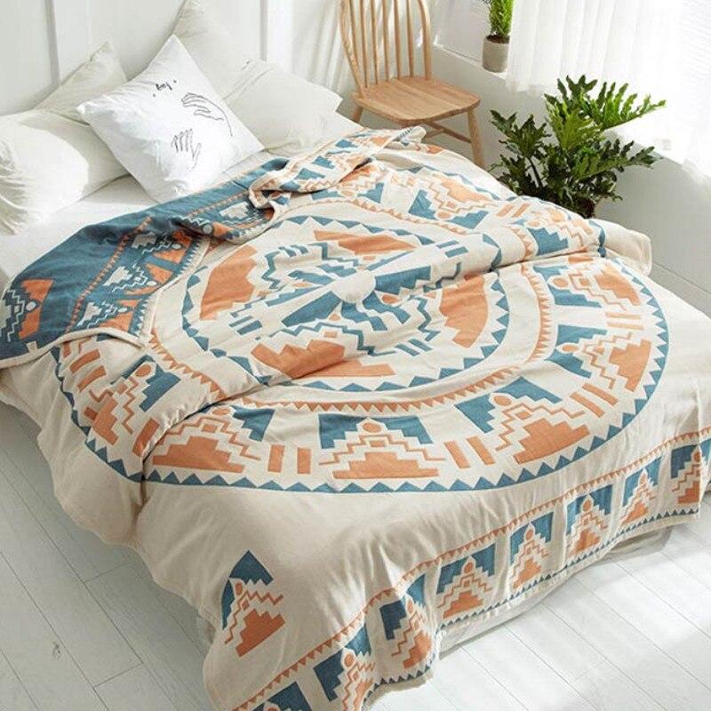 Été respirer librement couverture 100% coton couette bohême Style couette 200*230 cm AB côté couvre-lit 4 couches gaze Jacquard couverture de lit
