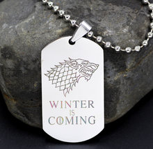 Game of Thrones Winter is Coming Stainless Steel Military Pendant Jewellery House Stark Direwolf Medallion Wolf Necklace(China)