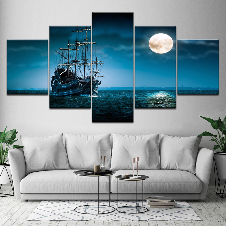 Canvas Painting The ship on the sea night sky 5 Pieces Wall Art Painting Modular Wallpapers Poster Print living room Home Decor