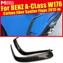 W176 Rear Lip Splitters Air Flow Vent 2 Pcs Carbon Gloss Black Fits For Benz A180 A200 Bumper Raft Splitter 13-18