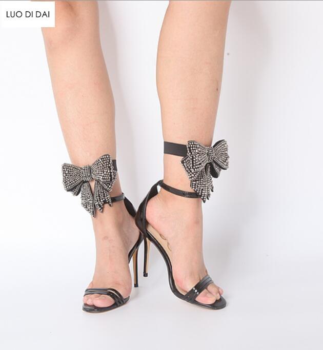 81a6fecf1 LTTL 2018 Summer Women Gladiator Knee High Boots Crystal High Heels  Diamonds Buckle Strap Sandals Fashion ...
