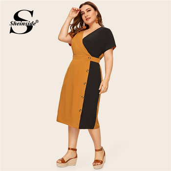 Sheinside Plus Size Elegant V Neck Colorblock Straight Dress Women 2019 Summer High Waist Dresses Ladies Button Detail Dress