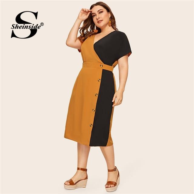 Sheinside Plus Size Elegant V Neck Colorblock Straight Dress Women 2019 Summer High Waist Dresses Ladies Button Detail Dress
