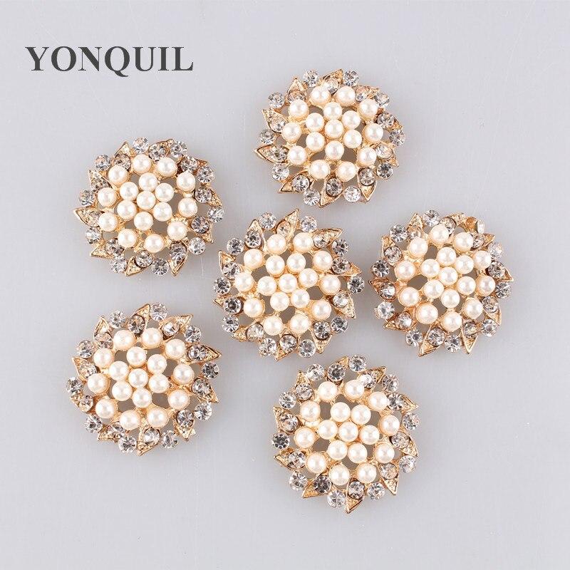 Elegant Bridal Set Heavy Gold Plated Diamante Crystal: Exquisite Imitation Cream Pearl Flower Pin Brooch Diamante