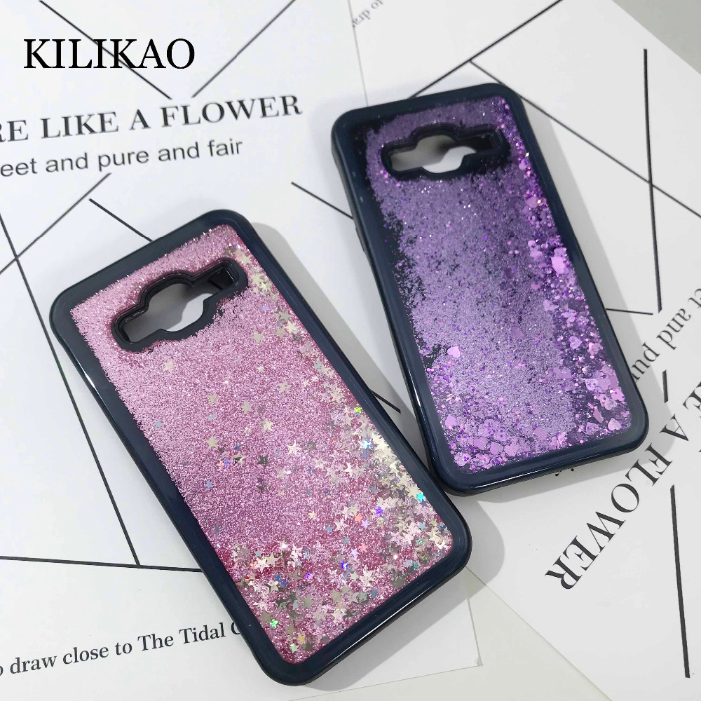 KILIKAO For Samsung Galaxy J3 2016 Case Love Heart Dynamic Liquid Quicksand Soft TPU Black Frame For Samsung J5 J7 2016 Cases